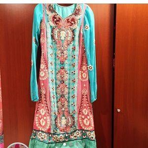 Anarkali style shalwar kameez Indo paki desi
